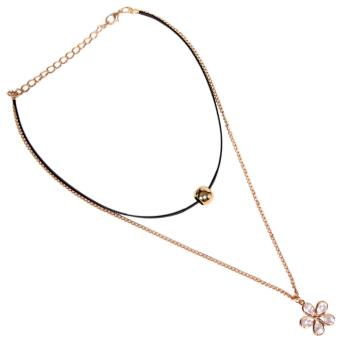 Harga Timmy Big Flower Crystal 2 Layers Chocker Necklace - Kalung Chocker Wanita