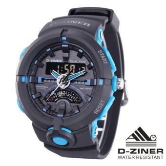 D-ziner - Jam Tangan Pria - Dual Time - Rubber Strap - DZ 8147