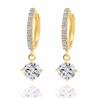 Harga Santorini Wanita Subang Fashion Rhinestone Drop Earring Women Lady Jewelry - Gold