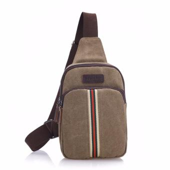Harga Generic Tas Selempang Canvas Import Mini Sling Bag Stripes Color - Brown