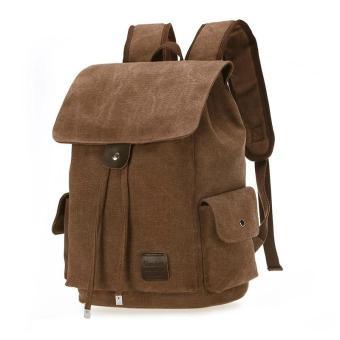 Retro Designer Drawstring Canvas Backpack Rucksack School Bag Travel Bag Coffee intl .