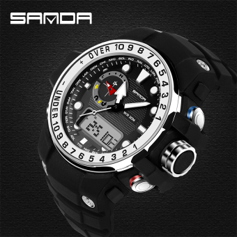 Harga 2016 Best Quality SANDA 399 Fashion Outdoor Sports Dual Display Waterproof Electronic Watch(silver)