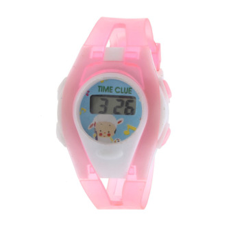 Harga Bigskyie Boy Girl Student Sport Time Electronic Digital LCD Wrist Watch Pink