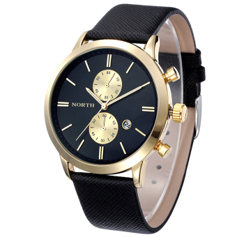 Harga Bigskyie Fashion Men Casual Waterproof Date Leather Military Japan Watch Gift Black Gold