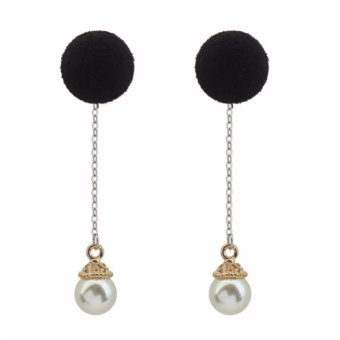 Harga LRC Anting Tusuk Fashion Black Pearls & Fuzzy Ball Decorated Color Matching Long Earrings