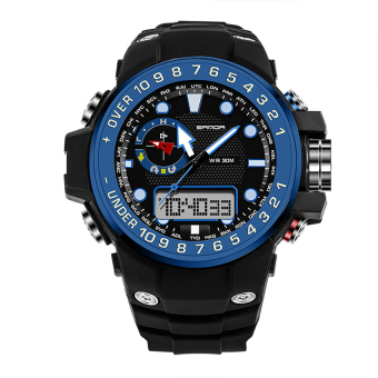 Harga SANDA 399 Fashion Outdoor Sports Dual Display Waterproof Electronic Watch(blue)