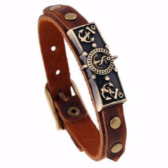 Gelang Jangkar Gelang Pria Gelang Wanita Gelang Vintage - Vintage Anchor Cross Belt Bracelet Leather Bracelets