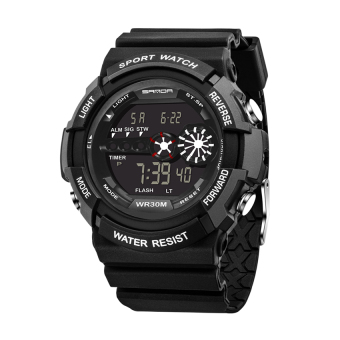 Harga SANDA 320 Outdoor Sports Waterproof Multifunctional Noctilucent Electronic Watch(black)