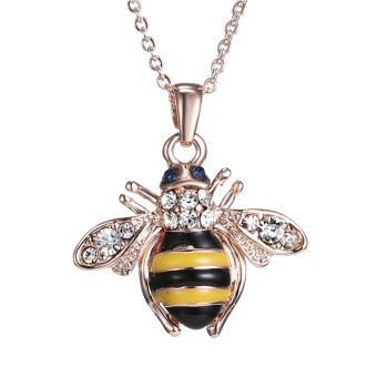 Harga Chic Cute Women Ladies Honey Bumblebee Bee Crystal Pendant Chain Necklace Multi - intl