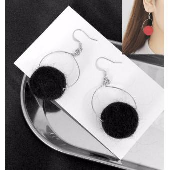 Harga LRC Anting Elegant Black Fuzzy Ball Pendant Decorated Pure Color Pom Earrings