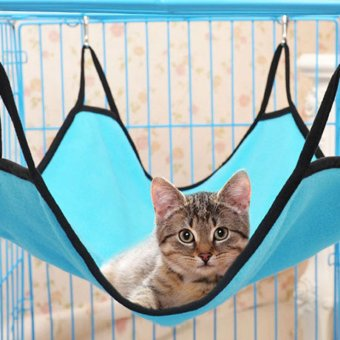 Harga Hot Sale Pet Plush and Canvas Hammock Kitten Sleep Bed Light Blue - intl