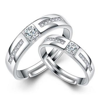 Harga Couple Rings Jewellry 925 Silver Adjustable Lovers Ring Jewelry E024 - intl