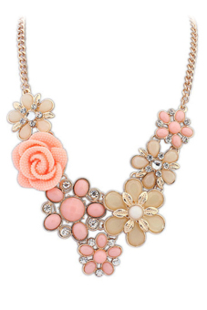 Harga Blue Lans Crystal Rose Necklace (Beige) - intl