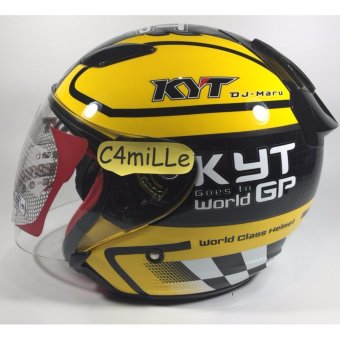 Harga HELM KYT DJ MARU #11 BLACK YELLOW HALF FACE