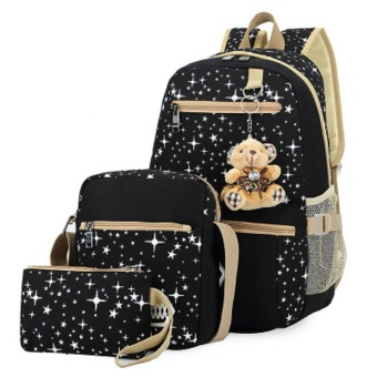 Harga Buy One Get Three Star Pattern Three-piece Thick Canvas Backpack for Girls Backpack