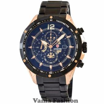 Expedition E6721BR Jam Tangan Pria Stainless Steel Hitam Rose Gold