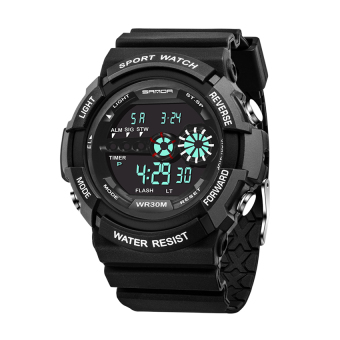 Harga 2016 High Quality SANDA 320 Outdoor Sports Waterproof Multifunctional Noctilucent Electronic Watch(black)