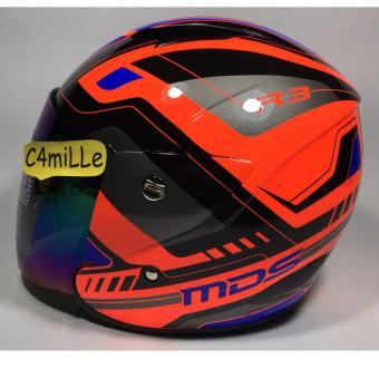 Harga HELM MDS R3 RACE FLUO EDITION RED FLUO BLUE HALF FACE