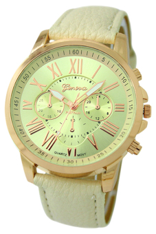 Harga Bluelans Geneva Roman Numerals Faux Leather Wrist Watch (Beige)