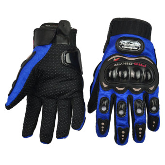 LoveSport 2015 Pro-Biker Carbon Fiber Bike Motorcycle Motorbike Racing Gloves Full Size M-XXL (Blue)