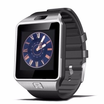 Harga Rectangle Dial Bluetooth Smart Watch DZ09 Smartwatch GSM SIM Card For Android IOS Phone - Black & Silver
