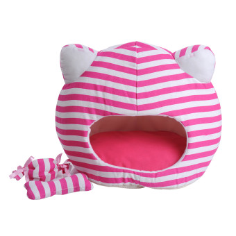 Harga new Cute Cat CAT head shape PET pet Striped PET pet nest dog house Cat CAT litterL