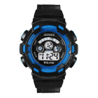 Harga Cool Men's Boy Casual Sports LCD Digital Electronic Rubber Band Wrist Watch – Blue