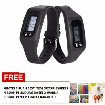 Led Watch Pedometer Run Walking 2 Buah Hitam Gratis 4 Pelindung Kabel 2 .