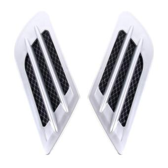 Harga 2PCS Euro Style Plastic Decorative Air Flow Intake Turbo Bonnet Hood Side Vent Grille Cover With Self-adhesive Sticker(Silver) - intl