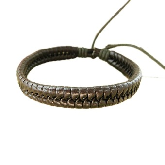 Harga Hequ Woven Leather Cord Bracelet Male And Female Models (Brown)