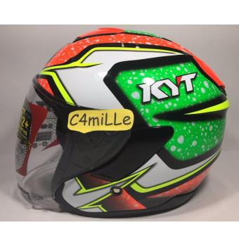 Harga HELM KYT KYOTO #2 BLACK GREEN FLUO RED HALF FACE