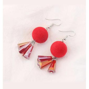 Harga LRC Anting Gantung Trendy Red Fuzzy Ball Decorated Color Matching Earrings