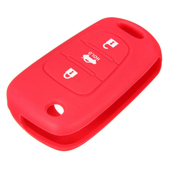 Harga 3 Button Silicone Key Case Holder Fob Protect Cover for HYUNDAI i20 i30 i40 Red- intl