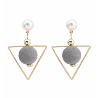 Harga LRC Anting Tusuk Fashion Gray Fuzzy Ball&triangle Shape Decorated Color Matching Earrings