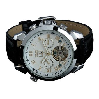 Harga Luxury Men Leather Strap Automatic Mechanical Watch - WM184 - Black/Silver