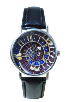 Harga Blue lans Women's Men's Galaxy Heart Faux Leather Quartz Analog Watch Black