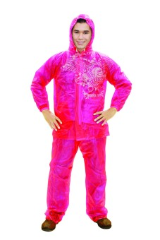 Indoplast - Jas Hujan Jaket Celana Neon - Orange - 2