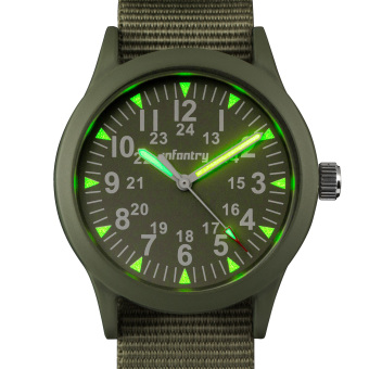 Harga INFANTRY Mens Analog Wrist Watch 24hrs Night Vision Pilot TacticalGreen Nylon