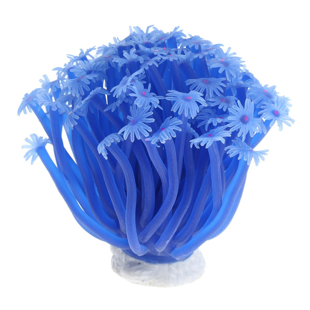 iooilyu Artificial Sea Anemone Coral Plant for Aquarium DecorationAquatic Arts Safe Silicion Ornament, Blue - intl