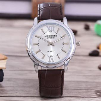 JAM PRIA-BODY SILVER/WHITE DIAL-AC-5142C-SW-DARK BROWN LEATHER