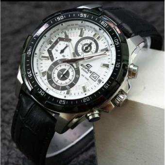 Jam Tangan Casioo Edifice EFR 539L - 1Av Leather Black Dial White