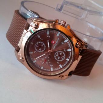Jam tangan Fashion Pria-wanita karet analog coklatACCK05545