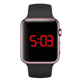 Jam Tangan LED - Jam Tangan Pria dan Wanita - Strap Karet - Hitam Emas Pink - Apple_Black_RoseGold - 3