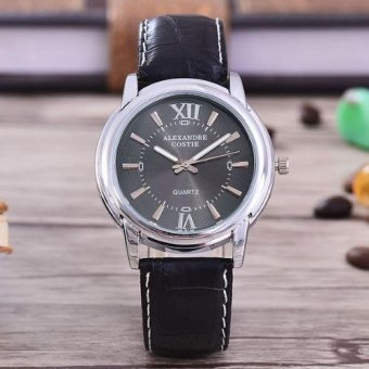 JAM TANGAN PRIA-BODY SILVER/BLACK DIAL-AC-5142A-SB-BLACK LEATHER STRAP