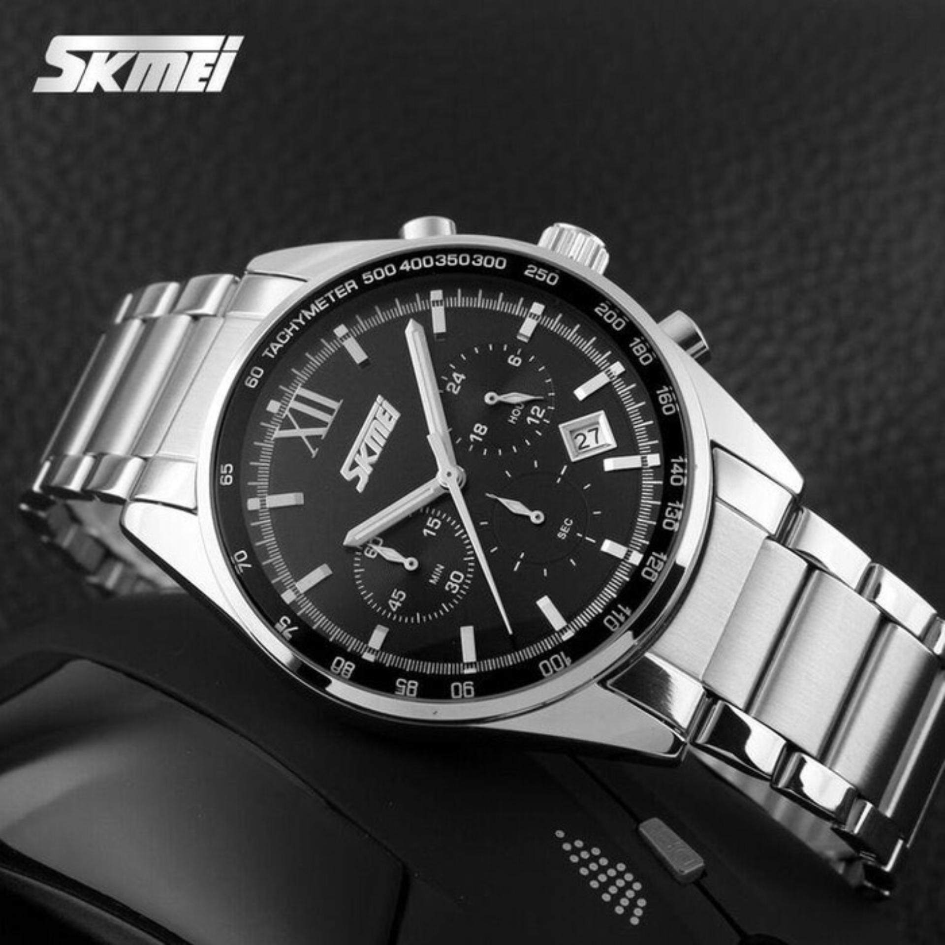 Anggaran Terbaik Jam Tangan Pria Formal Chrono Stopwatch Skmei Ori 9096 Black