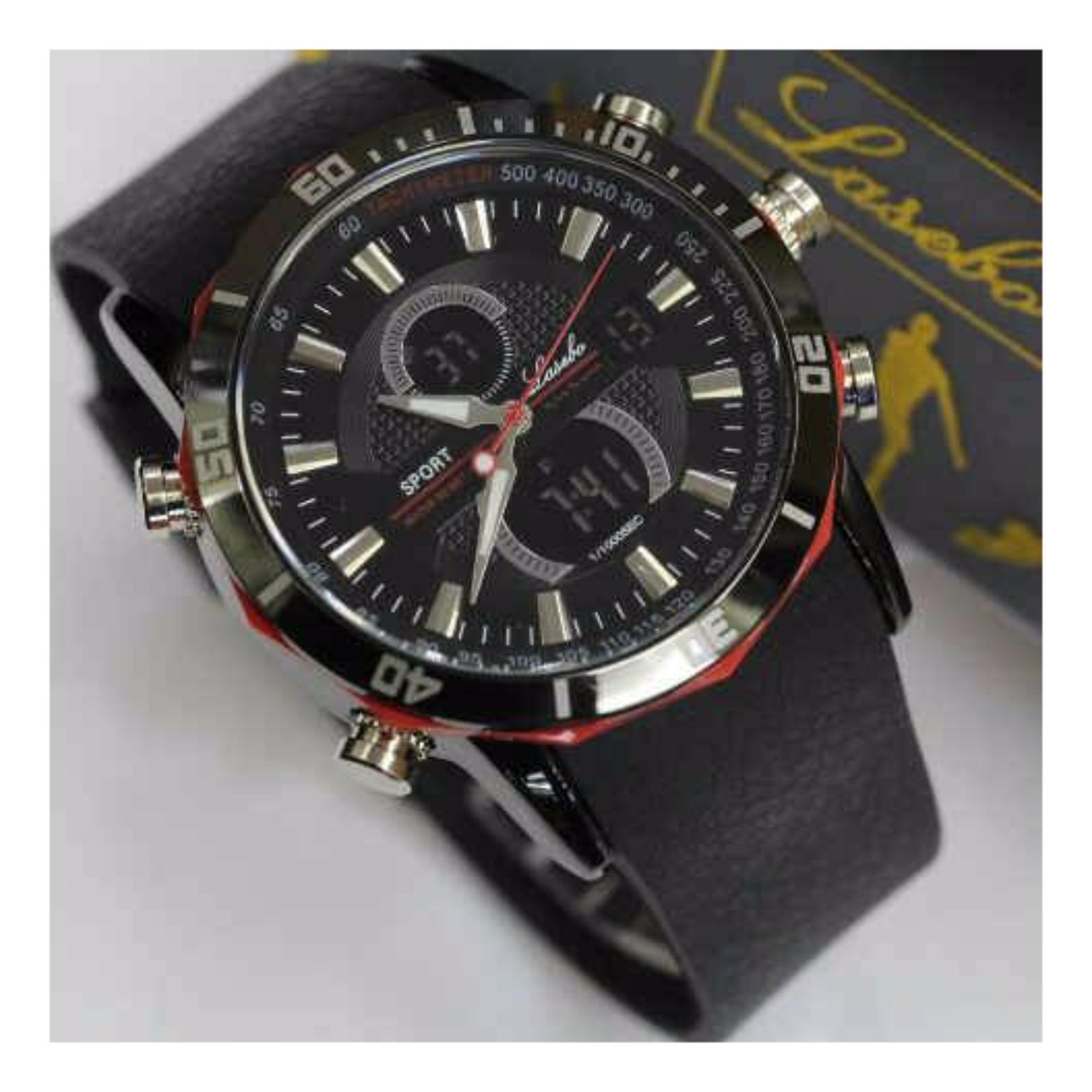 Jam Tangan Pria Lasebo LB8023-STRAP karet -Dual Time .