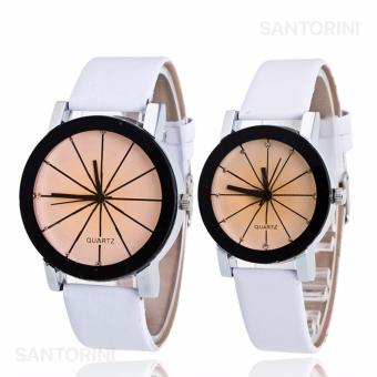 Jam Tangan Quartz 1 Pair Pria dan Wanita Strap Kulit PU Men Women Stainless Steel Leather