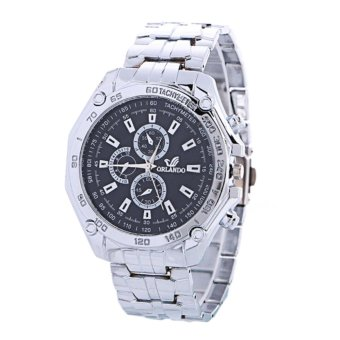 Jam Tangan Rantai Pria Fashion Man Watch Orlando Tachymeter Elegant - Black