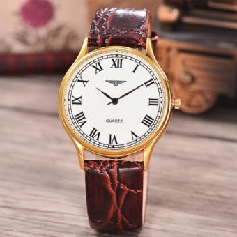 Jam Tangan Unisex - Body Gold-White Dial-Dark Brown Leather Strap-AC-3858A-GW
