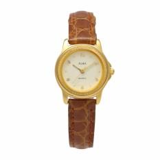 Jam Tangan Wanita - Brown Gold - Leather Strap - ATCV38